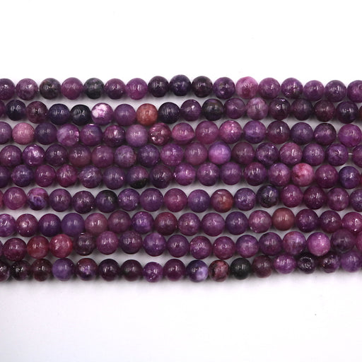6mm round lepidolite beads, glossy, 1 strand, 16 inches, approx. 66 beads.