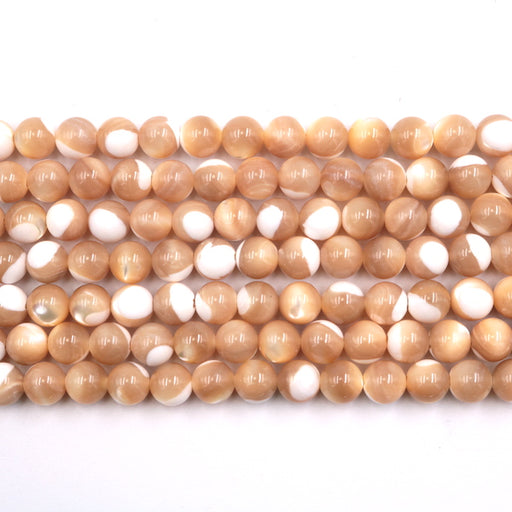 8mm round natural mother of pearl beads, glossy, 1 strand, 16 inches, approx. 48 beads.