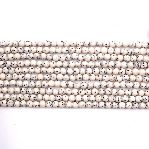 4mm round Dalmatian jade beads, glossy, 1 strand, 16 inches, approx. 96 beads.