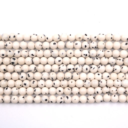 6mm round Dalmatian jade beads, glossy, 1 strand, 16 inches, approx. 66 beads.