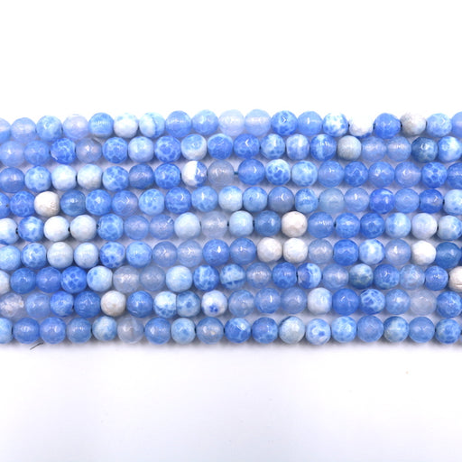 6mm faceted blue fire agate, 1 strand, 16 inches, approx. 66 beads.
