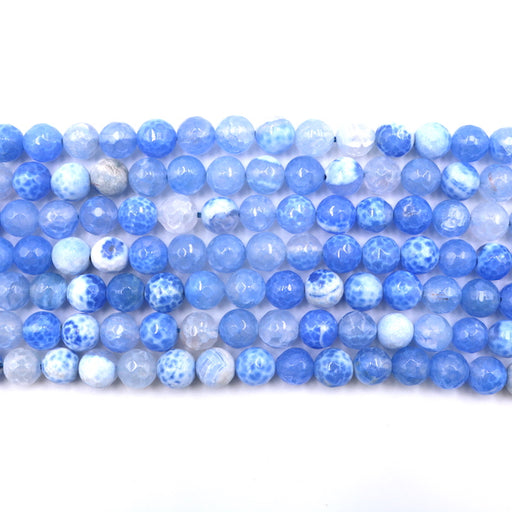 8mm round faceted blue fire agate, 1 strand, 16 inches, approx. 48 beads.