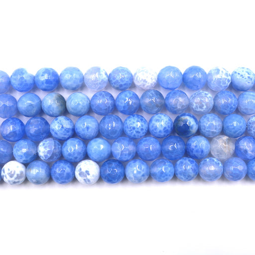 10mm round faceted blue fire agate, 1 strand, 16 inches, approx. 39 beads.