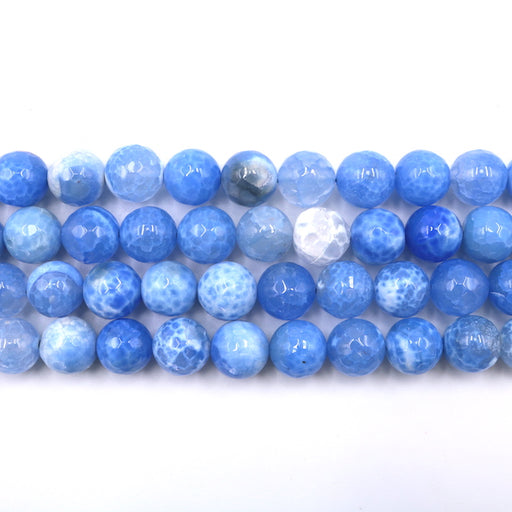 12mm round faceted blue fire agate, 1 strand, 16 inches, approx. 30 beads.