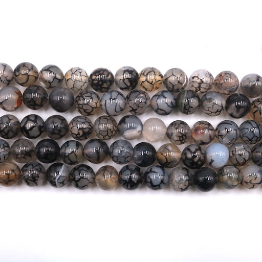 10mm round dragon vein agate, 1 strand,16 inches, approx. 40 pieces.