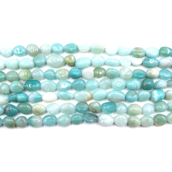amazonite nugget beads, 8mm x 6mm, glossy, 1 strand, 16 inches, approx. 50 beads.
