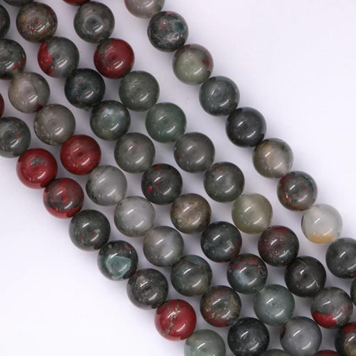 African bloodstone, 10mm, round, glossy, 1 strand, 16 inches, approx. 40 beads.-Gemstone Beads-BeadsVenture
