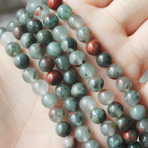 African bloodstone, 6mm, round, glossy, 1 strand, 16 inches, approx. 66 beads.-Gemstone Beads-BeadsVenture