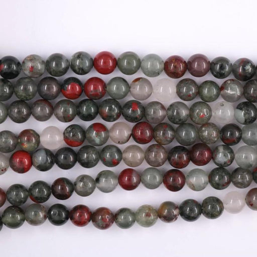 African bloodstone, 8mm, round, glossy, 1 strand, 16 inches, approx. 48 beads.-Gemstone Beads-BeadsVenture