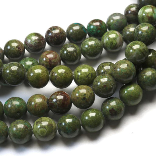 African green jasper, 10mm, round, glossy, 1 strand, 16 inches, approx. 40 beads.-Gemstone Beads-BeadsVenture