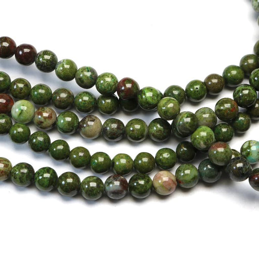 African green jasper, 6mm, round, glossy, 1 strand, 16 inches, approx. 66 beads.-Gemstone Beads-BeadsVenture