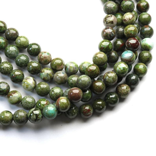 African green jasper, 8mm, round, glossy, 1 strand, 16 inches, approx. 48 beads.-Gemstone Beads-BeadsVenture