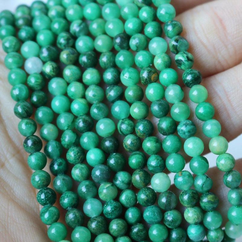 African jade, 4mm, round, glossy, 1 strand, 16 inches, approx. 96 beads.-Gemstone Beads-BeadsVenture