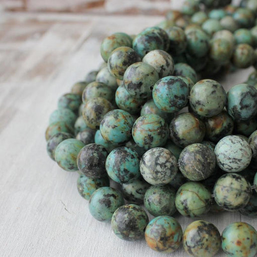 African turquoise, 10mm, round, glossy, 1 strand, 16 inches, approx. 40 beads.-Gemstone Beads-BeadsVenture