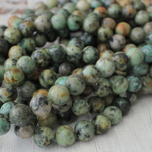 African turquoise, 12mm, round, glossy, 1 strand, 16 inches, approx. 32 beads.-Gemstone Beads-BeadsVenture
