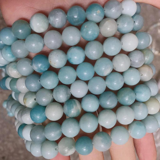 amazonite, 10mm, round, glossy, 1 strand, 16 inches, approx. 40 beads.-Gemstone Beads-BeadsVenture