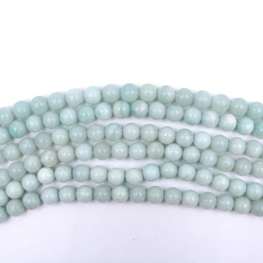 amazonite, 8mm, round, glossy, 1 strand, 16 inches, approx. 48 beads.-Gemstone Beads-BeadsVenture