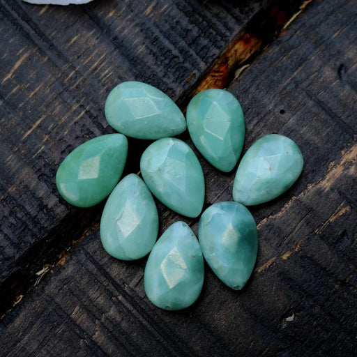 amazonite, approx. 30mm x 20mm, teardrop, faceted, sold as 1 bead.-Gemstone Beads-BeadsVenture