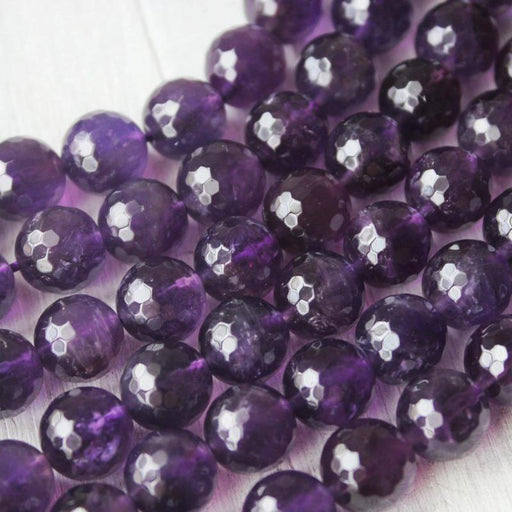 amethyst, 10mm, round, faceted, 1 strand, 16 inches, approx. 40 beads.-Gemstone Beads-BeadsVenture