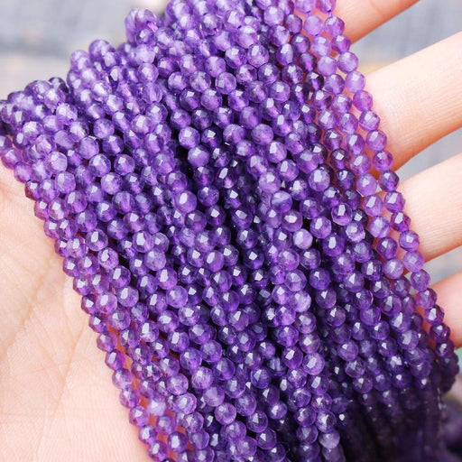 amethyst, 4mm, round, faceted, 1 strand, 16 inches, approx. 110 beads.-Gemstone Beads-BeadsVenture