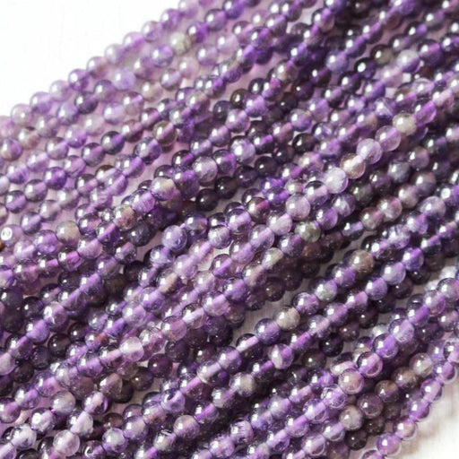 amethyst, 4mm, round, glossy, 1 strand, 16 inches, approx. 96 beads.-Gemstone Beads-BeadsVenture