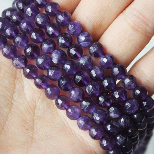 amethyst, 6mm, round, faceted, 1 strand, 16 inches, approx. 66 beads.-Gemstone Beads-BeadsVenture