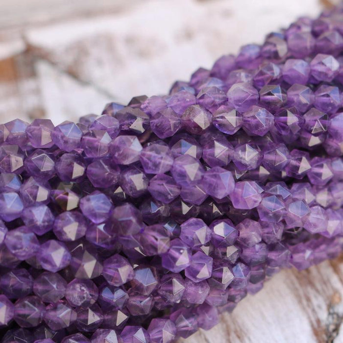 amethyst, 8mm x 7mm, diamond, faceted, 1 strand, 16 inches, approx. 48 beads.-Gemstone Beads-BeadsVenture