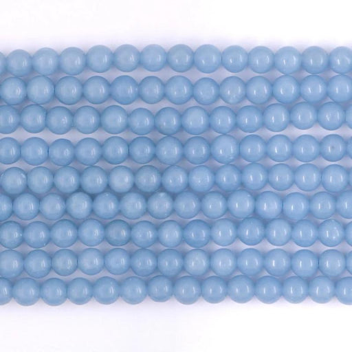 angelite, 6mm, round, glossy, 1 strand, 16 inches, approx. 66 beads.-Gemstone Beads-BeadsVenture
