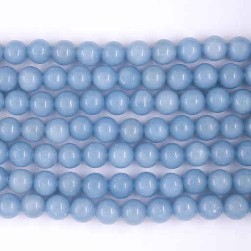 angelite, 8mm, round, glossy, 1 strand, 16 inches, approx. 48 beads.-Gemstone Beads-BeadsVenture