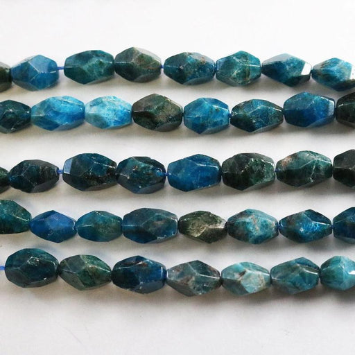 apatite, approx. 10mm × 14mm, nugget, faceted, 1 strand, 16 inches, approx. 28 beads.-Gemstone Beads-BeadsVenture