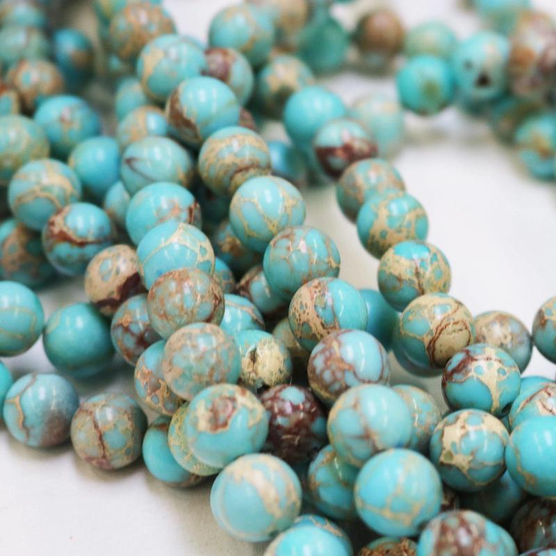 aqua blue impression jasper, 10mm, round, glossy, 1 strand, 16 inches, approx. 40 beads.-Gemstone Beads-BeadsVenture