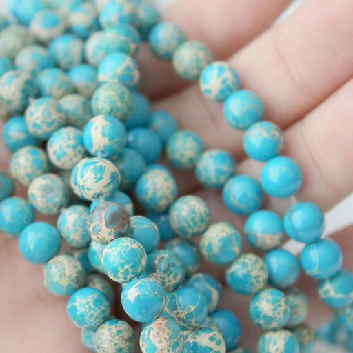 aqua blue impression jasper, 6mm, round, glossy, 1 strand, 16 inches, approx. 66 beads.-Gemstone Beads-BeadsVenture