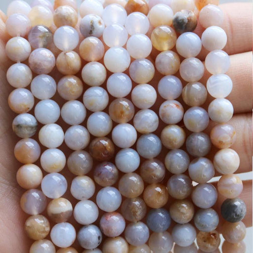 Australian agate, 6mm, round, glossy, multicolor, sold as 1 strand, approx. 66 beads.-Gemstone Beads-BeadsVenture