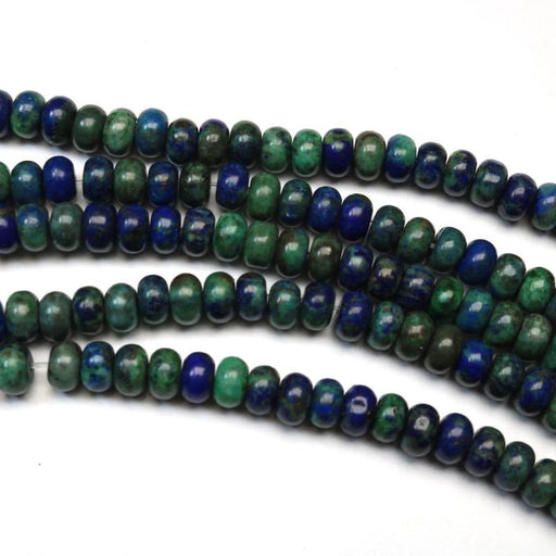 azurite, 4mm × 6mm, rondelle, glossy, 1 strand, 16 inches, approx. 96 beads.-Gemstone Beads-BeadsVenture