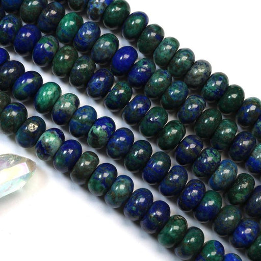 azurite, 8mm × 12mm, rondelle, glossy, 1 strand, 16 inches, approx. 48 beads.-Gemstone Beads-BeadsVenture
