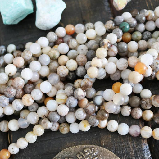 bamboo leaf agate, 8mm, round, glossy, 1 strand, 16 inches, approx. 48 beads.-Gemstone Beads-BeadsVenture