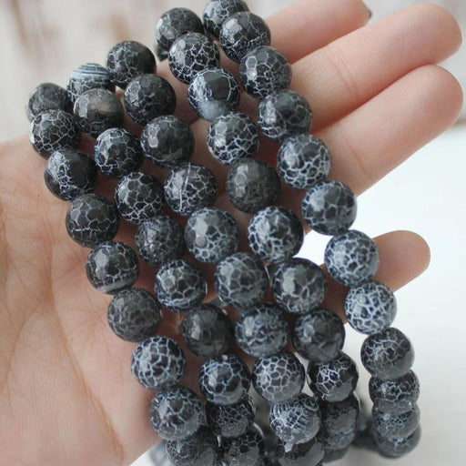 black crackle agate, 10mm, round, faceted, 1 strand, 16 inches, approx. 40 beads.-Gemstone Beads-BeadsVenture