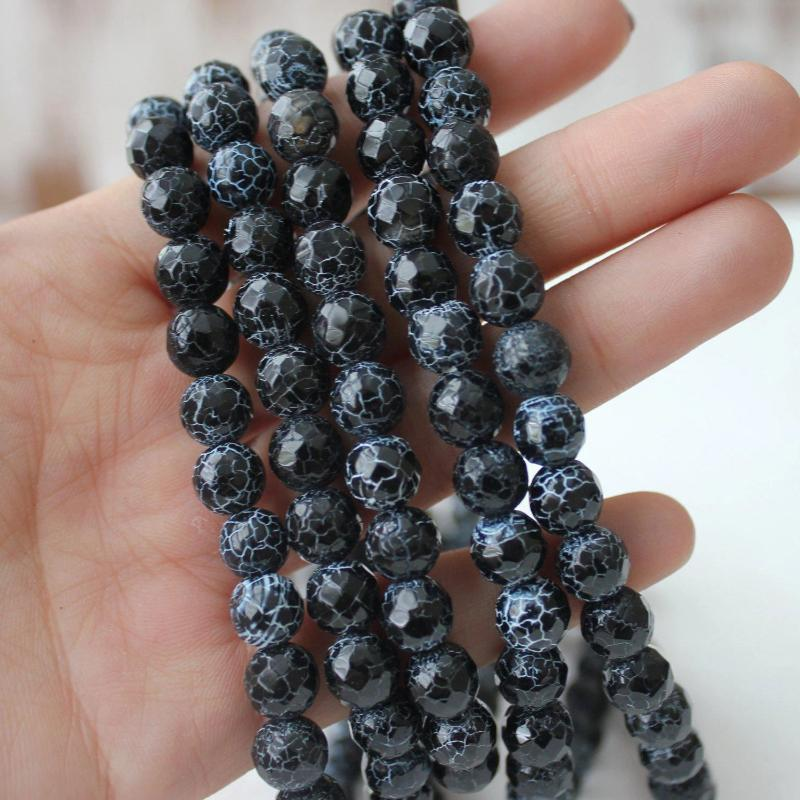 black crackle agate, 8mm, round, faceted, 1 strand, 16 inches, approx. 48 beads.-Gemstone Beads-BeadsVenture