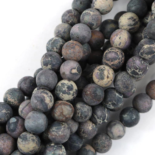 black impression jasper, 8mm, round, matte, 1 strand, 16 inches, approx. 48 beads.-Gemstone Beads-BeadsVenture