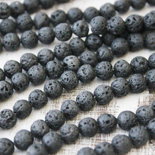 black lava, 8mm, round, waxed, black, sold as 1 strand, approx. 48 pieces.-Gemstone Beads-BeadsVenture