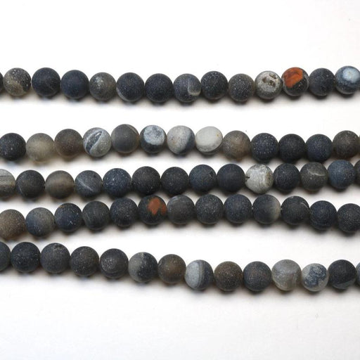 black natural druzy agate, 6mm, round, matte, 1 strand, 16 inches, approx. 66 beads.-Gemstone Beads-BeadsVenture