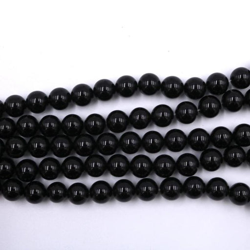 black onyx, 10mm, round, glossy, 1 strand, 16 inches, approx. 40 beads.-Gemstone Beads-BeadsVenture
