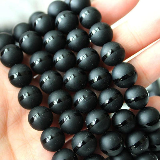 black onyx, 10mm, round, matte with glossy stripe, 1 strand, 16 inches, approx. 40 pieces.-Gemstone Beads-BeadsVenture