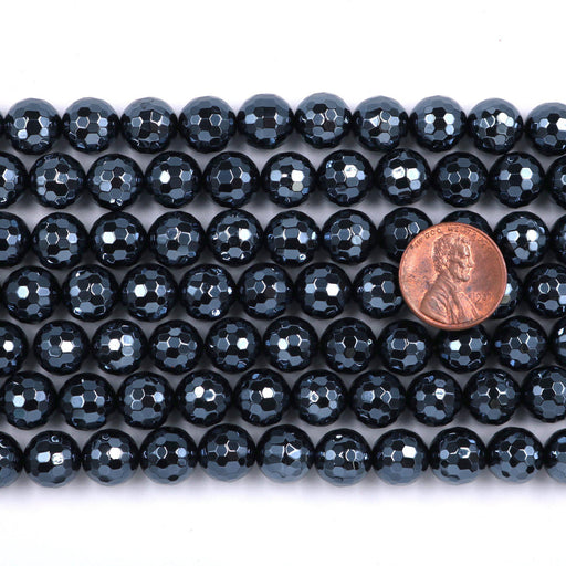 black onyx, 10mm, round, silver plated, faceted, 16 inch strand, approx. 38 beads-Gemstone Beads-BeadsVenture