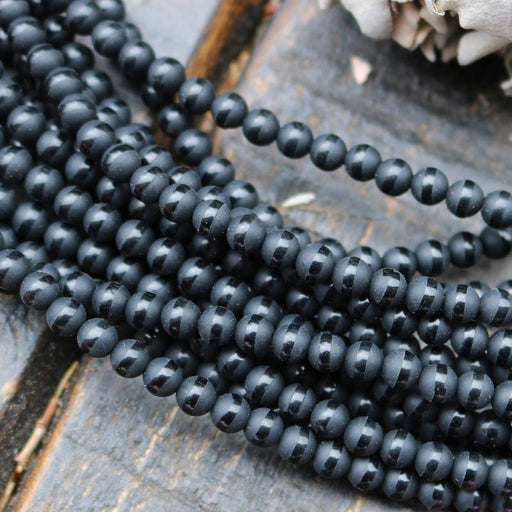 black onyx, 4mm, round, matte, 1 strand, 16 inches, approx. 96 beads.-Gemstone Beads-BeadsVenture