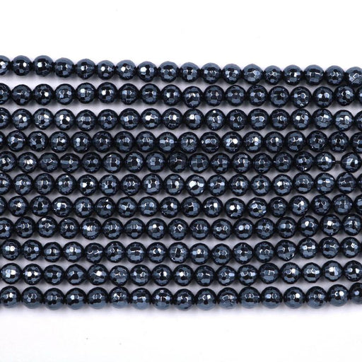 black onyx, 6mm, round, silver plated, faceted, 16 inch strand, approx. 66 beads-Gemstone Beads-BeadsVenture