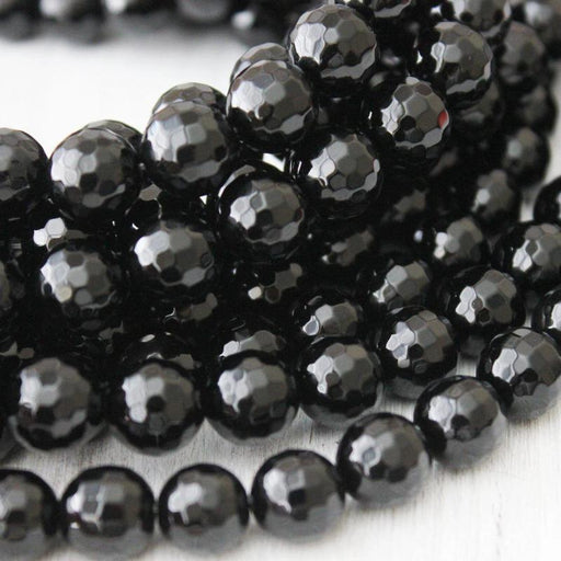 black onyx, 8mm, round, faceted, 1 strand, 16 inches, approx. 48 beads.-Gemstone Beads-BeadsVenture