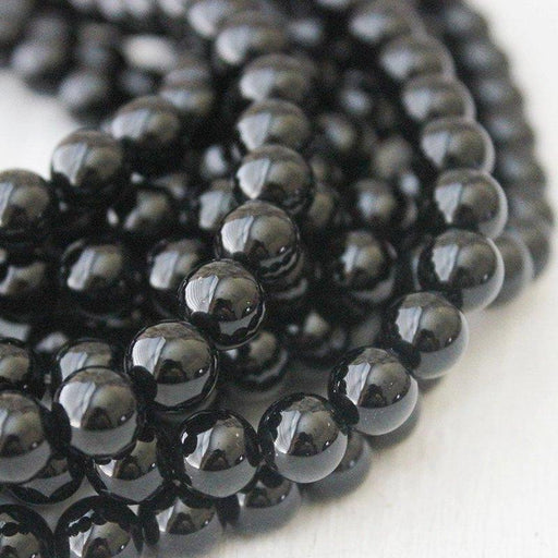 black onyx, 8mm, round, glossy, 1 strand, 16 inches, approx. 48 beads.-Gemstone Beads-BeadsVenture