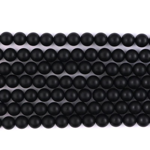 black onyx, 8mm, round, matte, black, sold as 1 strand, approx. 48 pieces.-Gemstone Beads-BeadsVenture