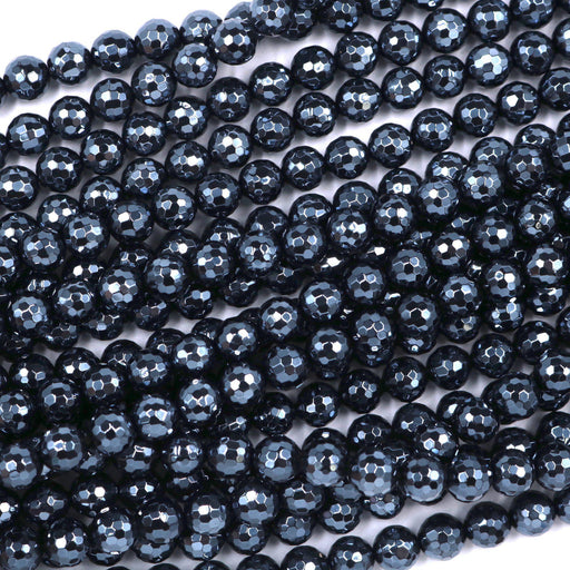 black onyx, 8mm, round, silver plated, faceted, 16 inch strand, approx. 48 beads-Gemstone Beads-BeadsVenture
